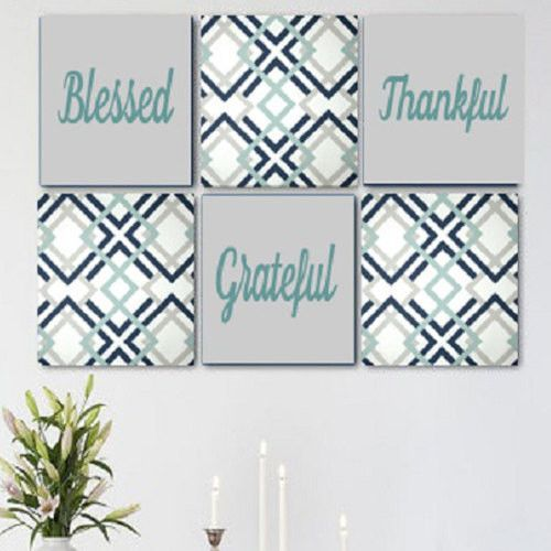 Blessed Thankful Grateful Grey Blue White Wall Art Pack of 6 Canvas Wall Hangings
