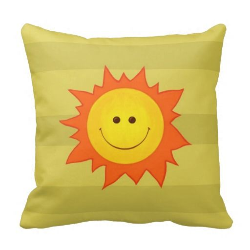 Happy Smiling Sun Pillow by borianag