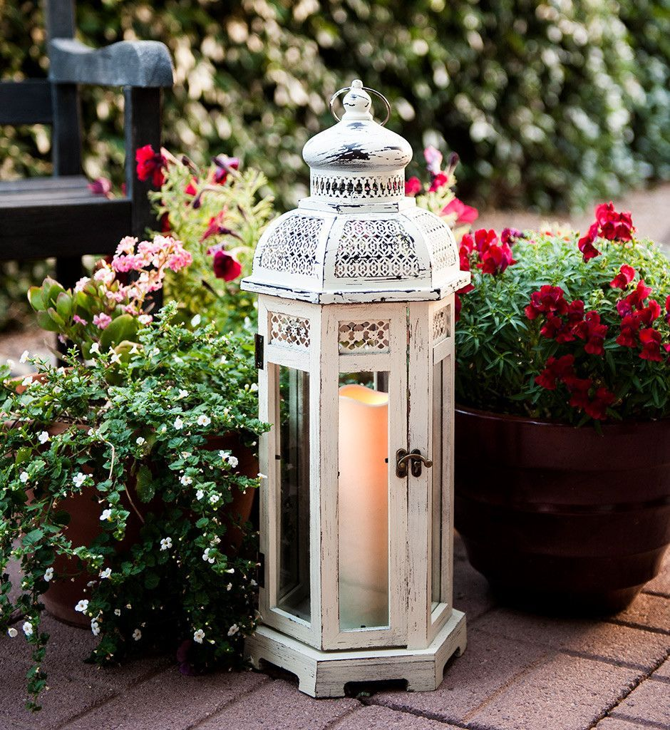 All Weather White Wood And Metal Flameless Candle Lantern