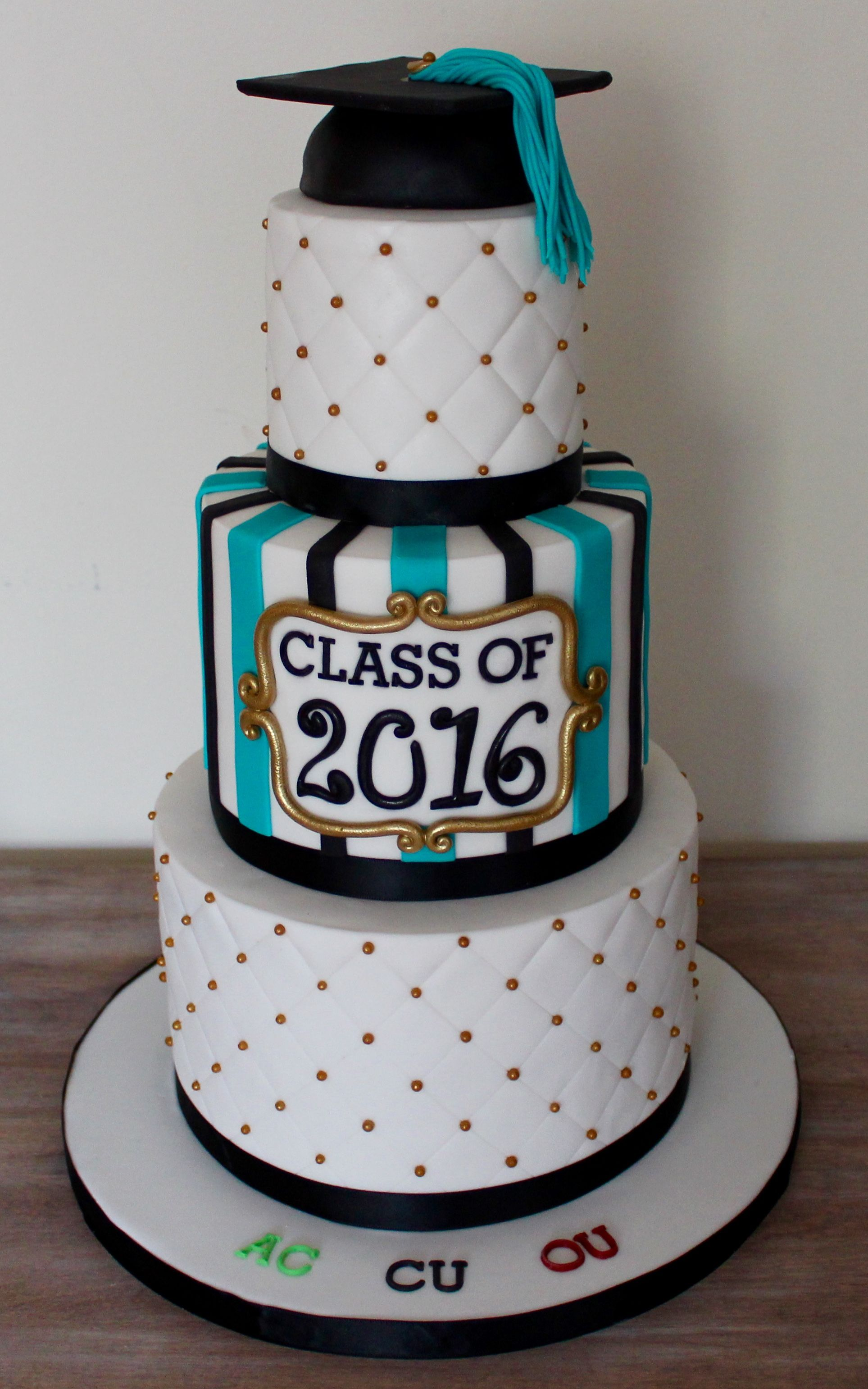 Three Tier Graduation Cake With Hat Diamond Pattern And Stripes