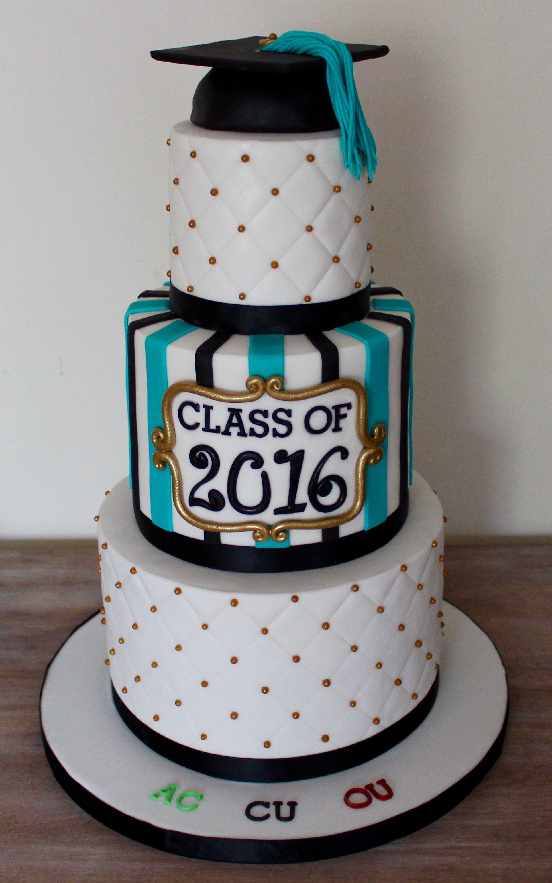 Three Tier Graduation Cake With Hat Diamond Pattern And