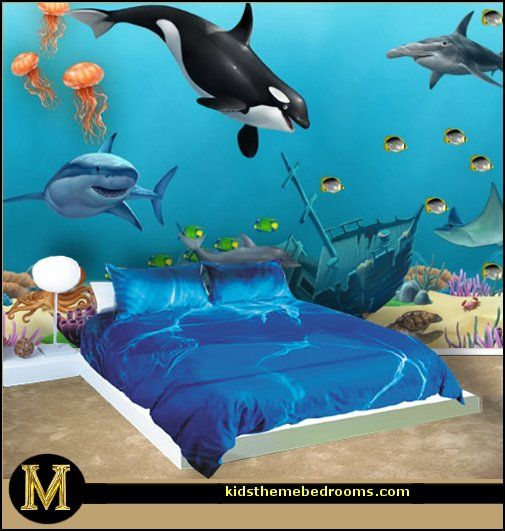 Pin By Sam S Taylor On Home Decor Ideas Ocean Room Underwater Bedroom Ocean Themed Bedroom