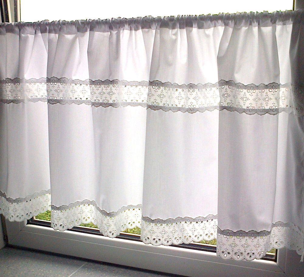 Scheibengardine Weiss Spitze 100 Baumwolle 140 X 50 Cm Handarbeit Vorhange Landhausstil Scheibengardine Haus Deko