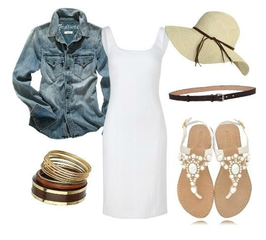 LOVE denim layered over the white dress with a cooridnating belt look <3