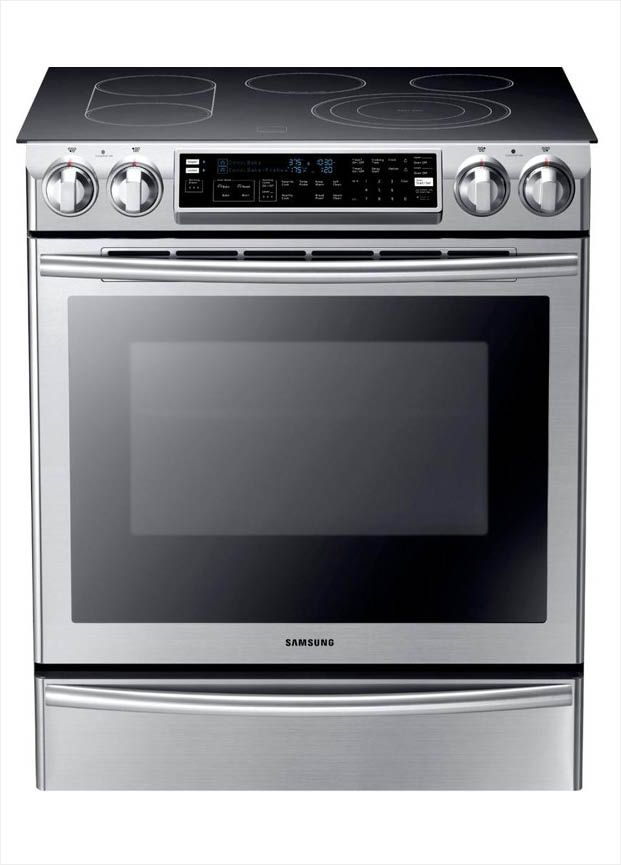 Samsung Flex Duo 5 8 Cu Ft Slide In Double Oven Electric Range With Self Cleaning Convection Oven In Stainless Steel Ne58f9710ws Slide In Range Stainless Steel Oven Double Oven Electric Range