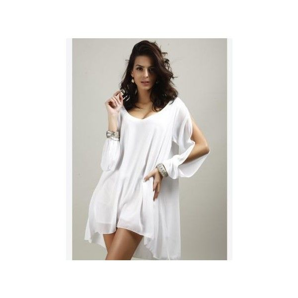 Women Sexy V-Neck A-Line Casual Long Split Sleeve Chiffon Mini Dress (£12) ❤ liked on Polyvore featuring dresses, chiffon dress, white chiffon dress, sexy white dresses, short sleeve dress and long dresses