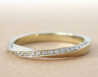 Mobius Wedding Ring 14k 18K Gold 6mm Wide Band Strip Infinity Mens