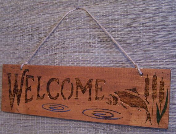 Welcome Sign Fish Wood Burning Pyrography Wall Hanger By