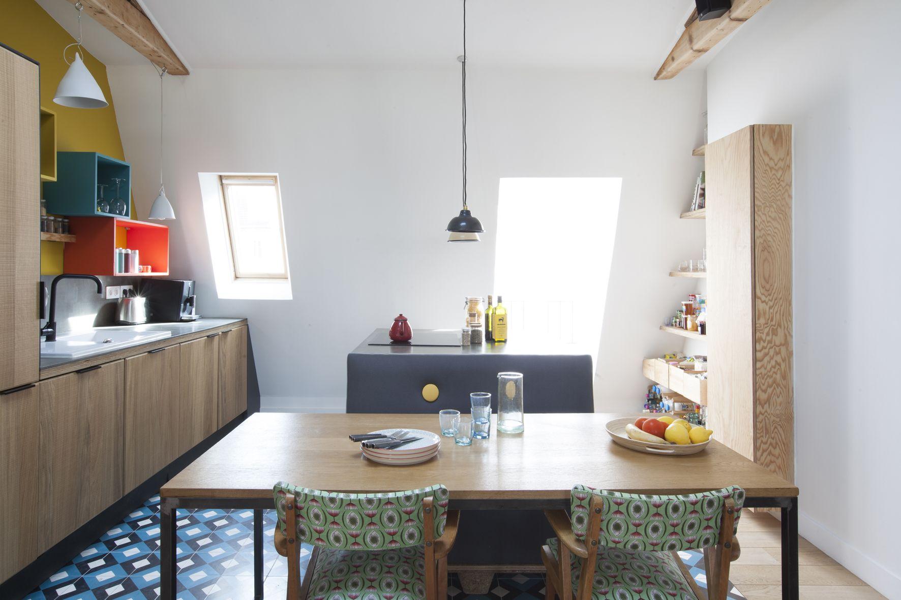D 39 esprit broc 39 cuisine sous les toits archi atelier - Architecte interieur paris petite surface ...
