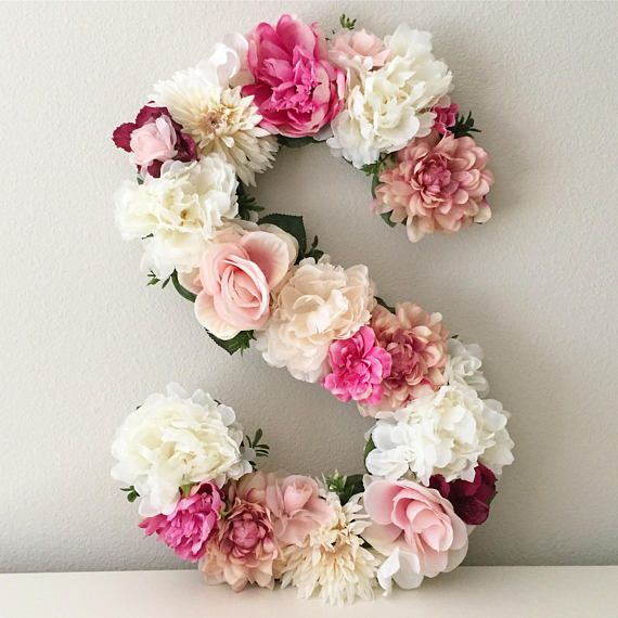 Photo of Large Floral Letter, Flower Letter, Nursery Letter, Floral Baby Shower, Flower Initial, Floral Nursery Decor, Baby Gift, Prop, Wedding Gift