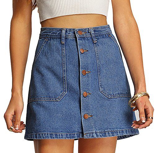 e76c3e44d0 SheIn Women's Button Front Denim A-Line Short Skirt - Blue Medium *  Continue @