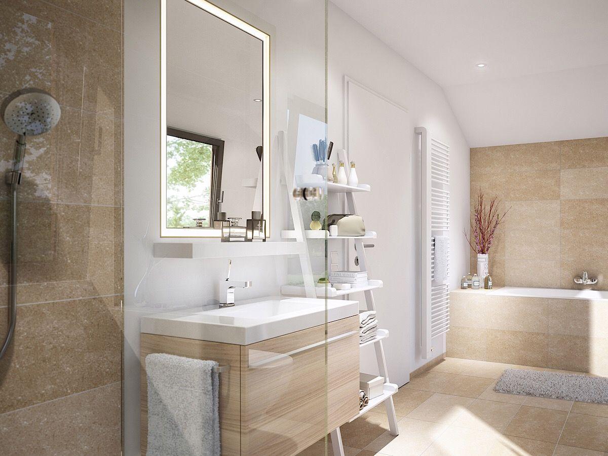 Badezimmer modern mit Dachschräge, Waschtisch mit Holz ...