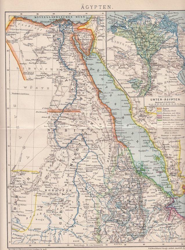 Karte Von ägypten.1893 ägypten Egypt Original Alte Landkarte Karte Lithographie
