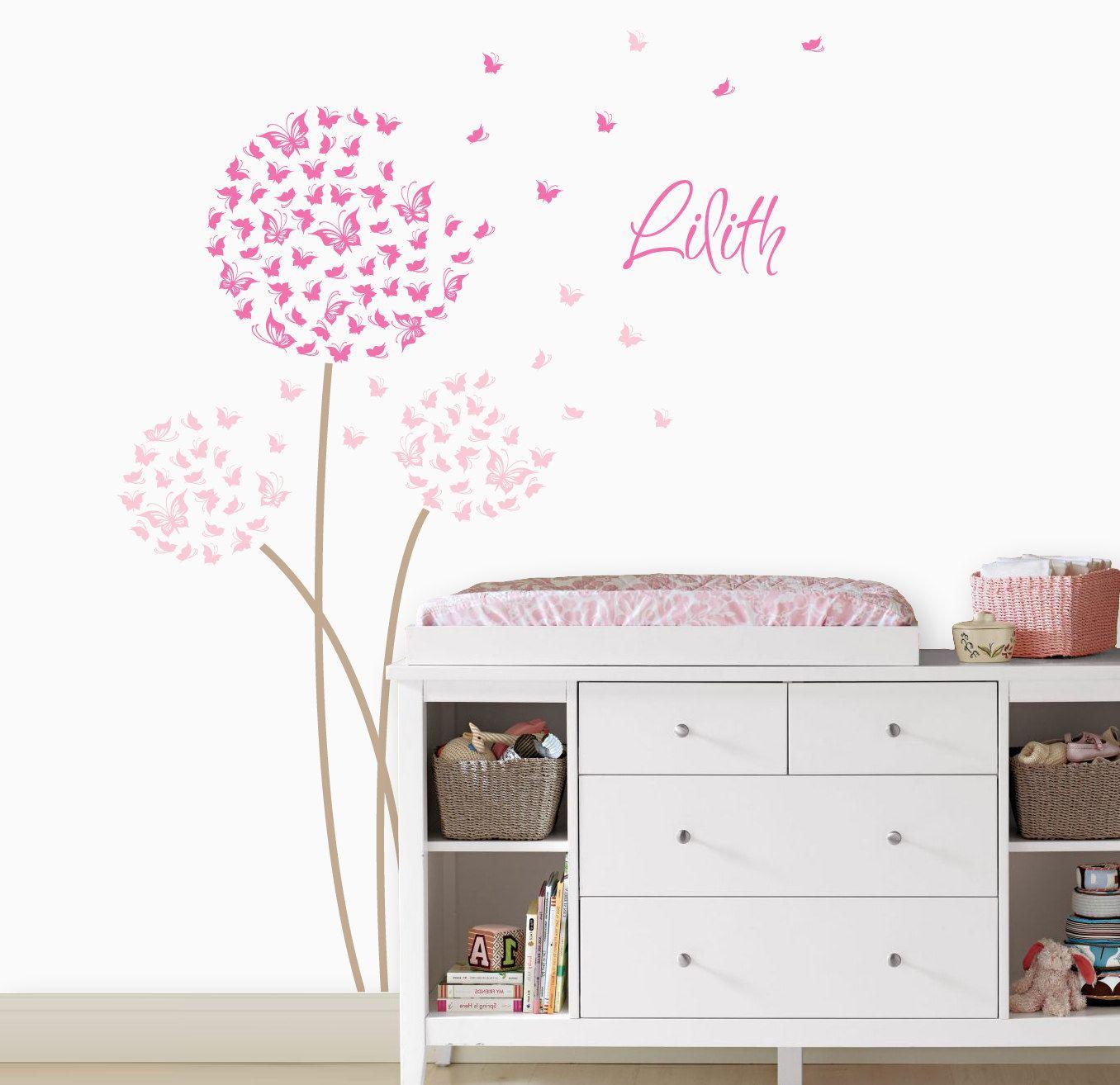 Dandelion Wall Decal | Custom Color With Butterflies | Custom Baby Nursery,  Childrenu0027s Room Interior Design | Easy Squeegee Application 033