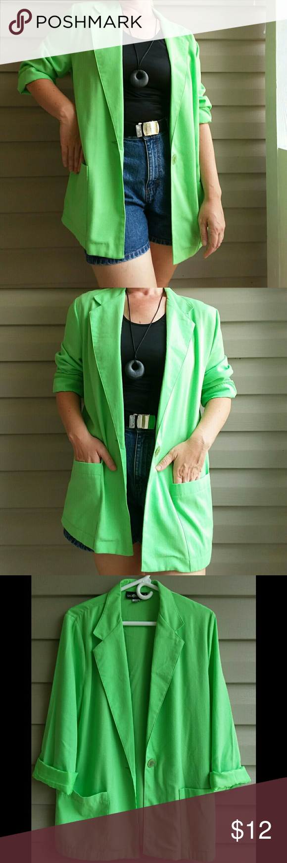 Lime Green Lightweight Oversized Blazer Bright, fun lime ...