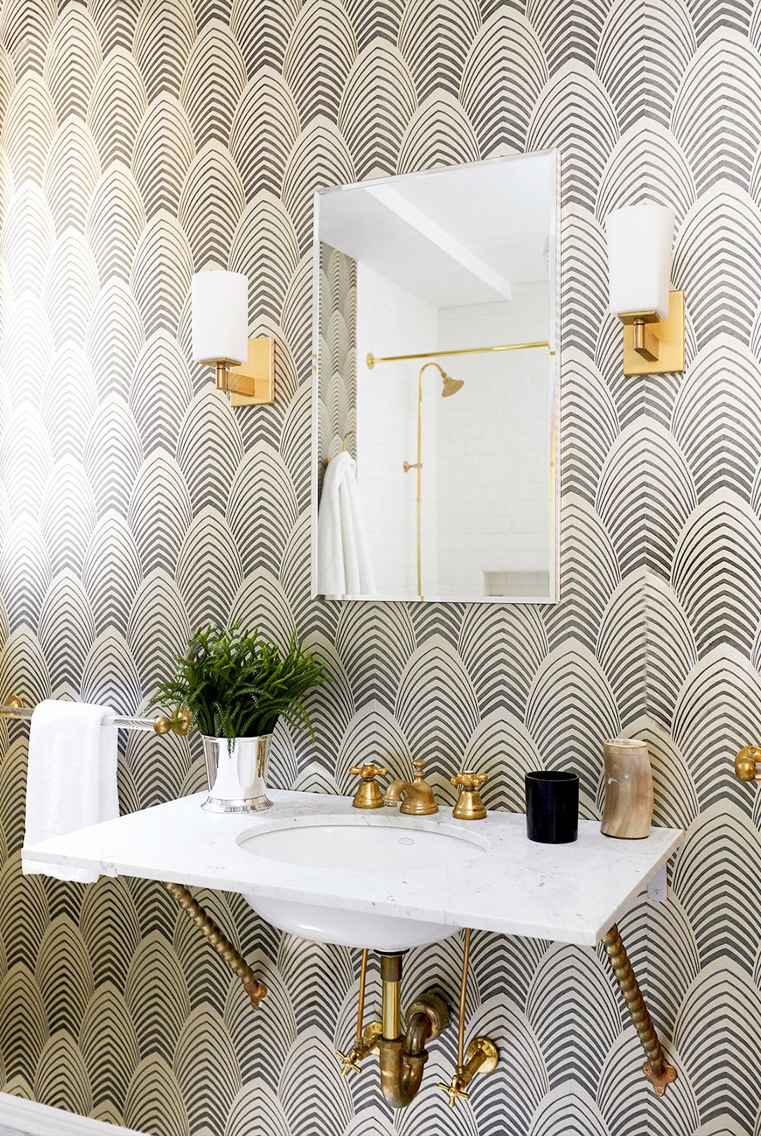 Black and white art deco bathroom - Black And White Wallpaper In Bathroom With Gold Sconces Art Deco