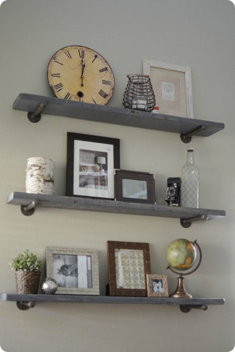 Reclaimed wood and metal wall shelves knock off decor for Off the shelf cabinets