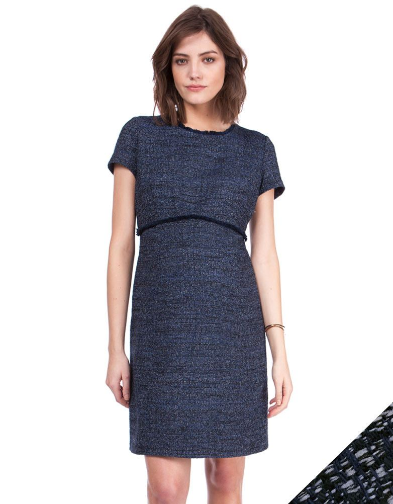 8cc49d06b1d Work a chic Parisian look this season with the Bouclé Maternity Shift Dress.  Intricately woven in stylish navy blue shades