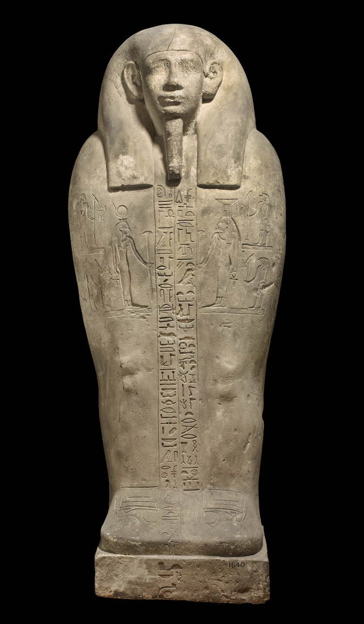 Lid of a limestone anthropoid sarcophagus. Ptolemaic | The British Museum