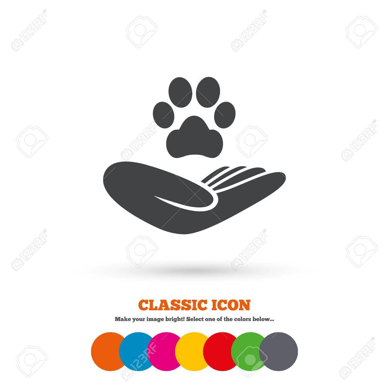 Shelter pets sign icon. Hand holds paw symbol. Animal