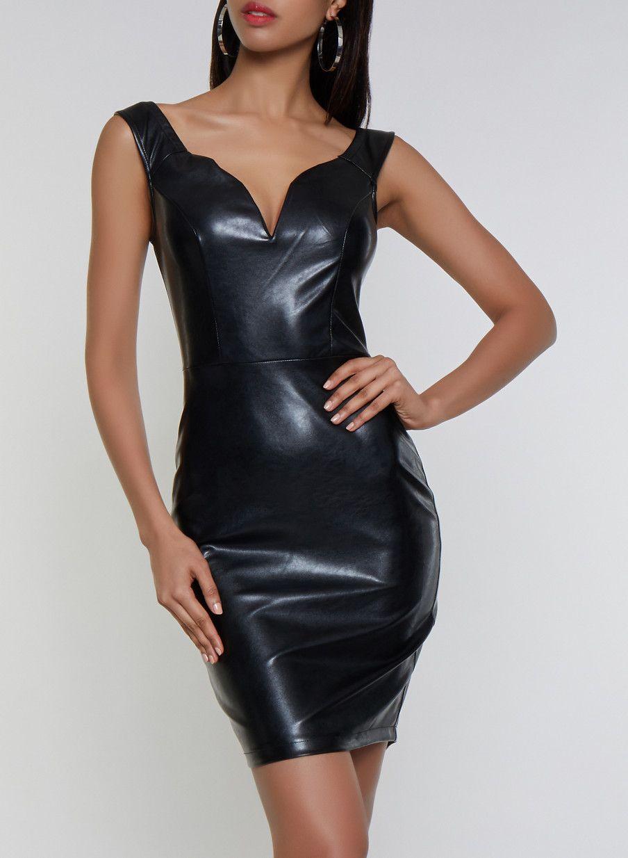 Faux Leather Bodycon Dress Black Size L Bodycon Dress Leather Bodycon Dress Black Bodycon Dress [ 1234 x 904 Pixel ]