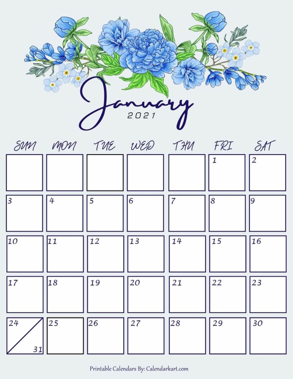 Cute January 2021 Floral Calendar In 2020 Printable Calendar Design 2021 Calendar Calendar Design