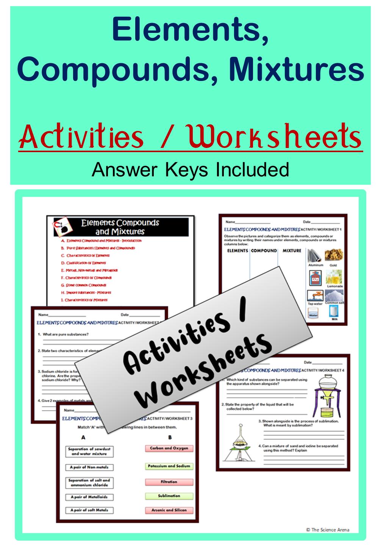 Elements Compounds Mixtures Activities Worksheets Grades 5 9 Homeschool Compounds And Mixtures Teacher Resources Teaching Resources [ 1440 x 998 Pixel ]