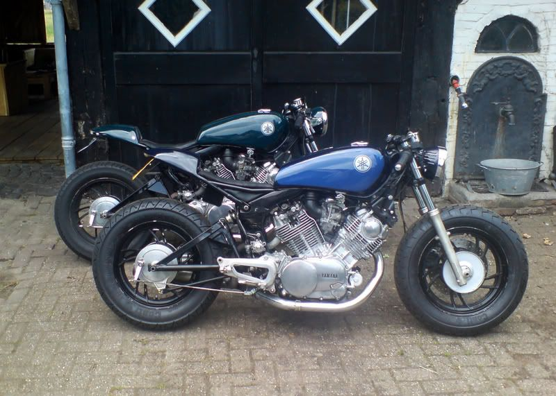 Blue and Green Virago cafe racers.