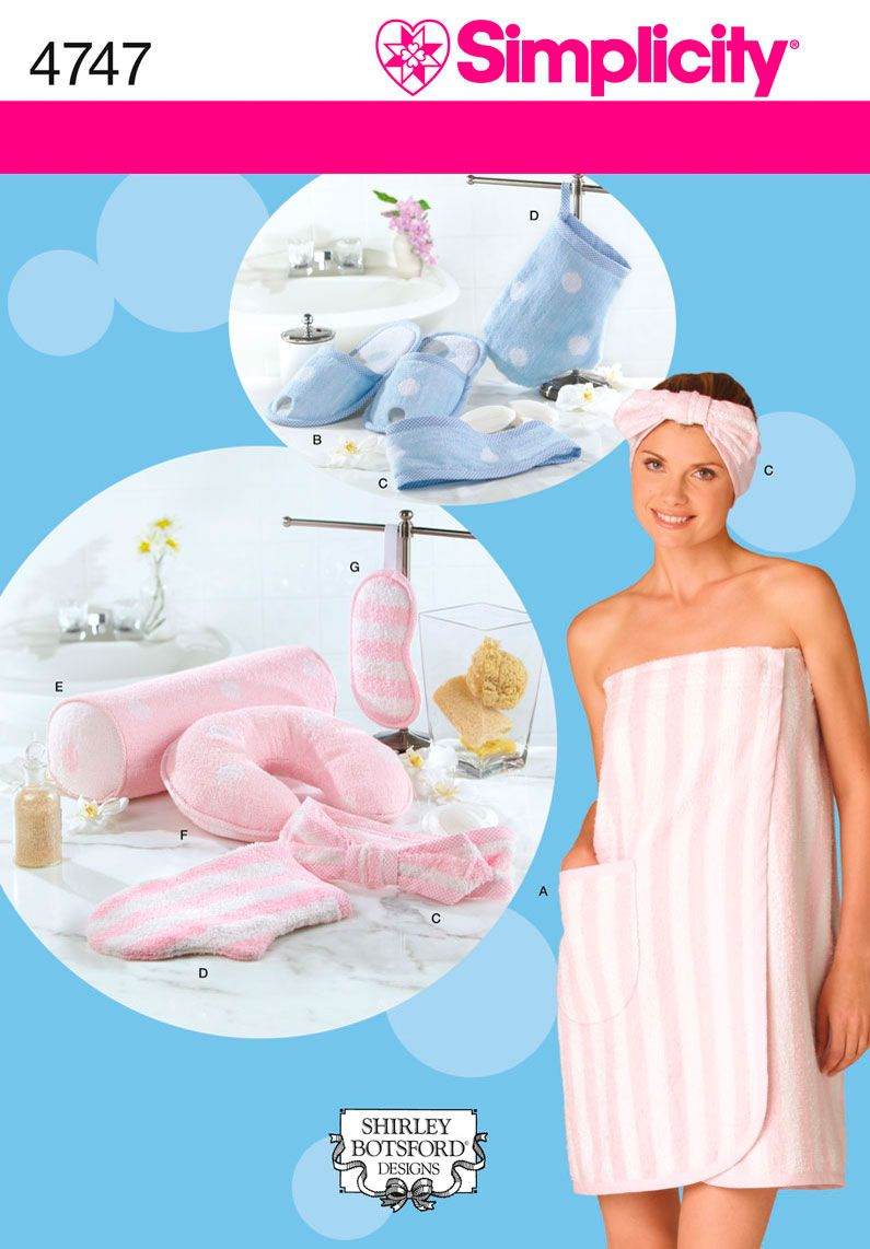 Womens Bath Wrap and Spa Sewing Pattern 4747 Simplicity- Perfect for ...