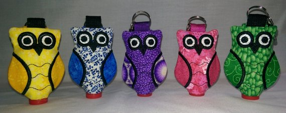 Embroidered Owl Hand Sanitizer Clip On Holder Hand Sanitizer