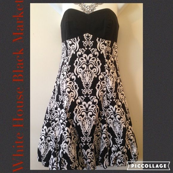 White House Black Market Strapless Dress Preloved in like new conditions, there is no flaws. Sweet heart neckline & Bubble style on the hem of the dress. Black & white lovely pattern. It's been Dry Cleaned. Please Lmk if you want measurements. It's size 0. •Take Reasonable offers & Give great bundle discounts. •Pet & Smoke Free Home. No Trades or PayPal! Thanks! White House Black Market Dresses Strapless