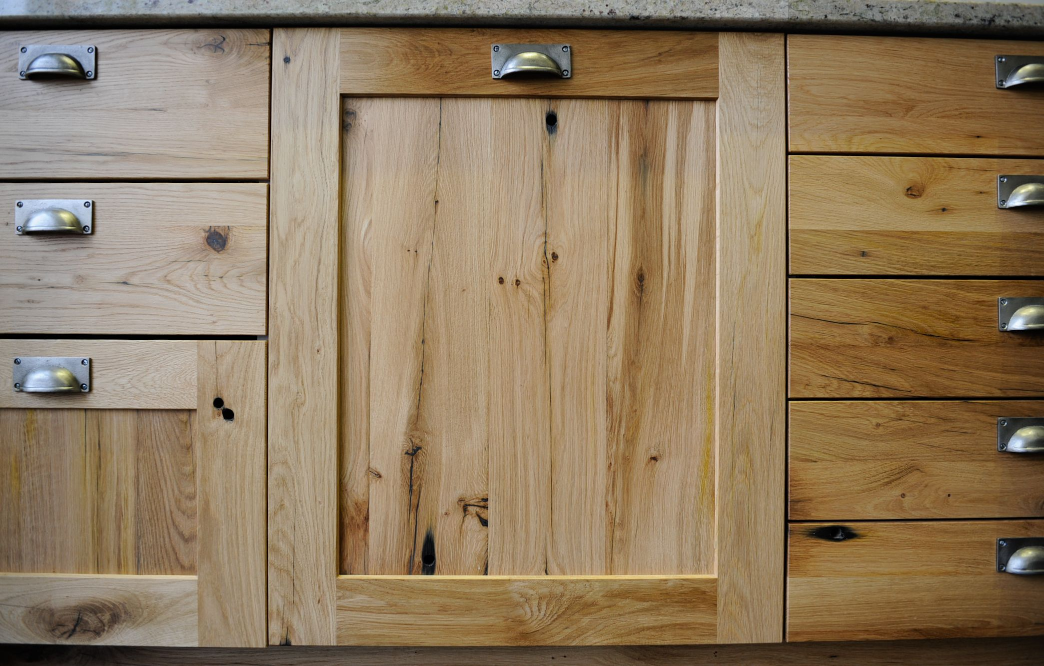 Reclaimed oak kitchen doors and drawers made from recycled