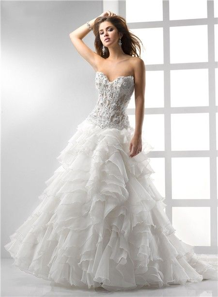 Y A Line Princess Sweetheart See Through Corset Wedding Dress With Lace Ruffles Beading