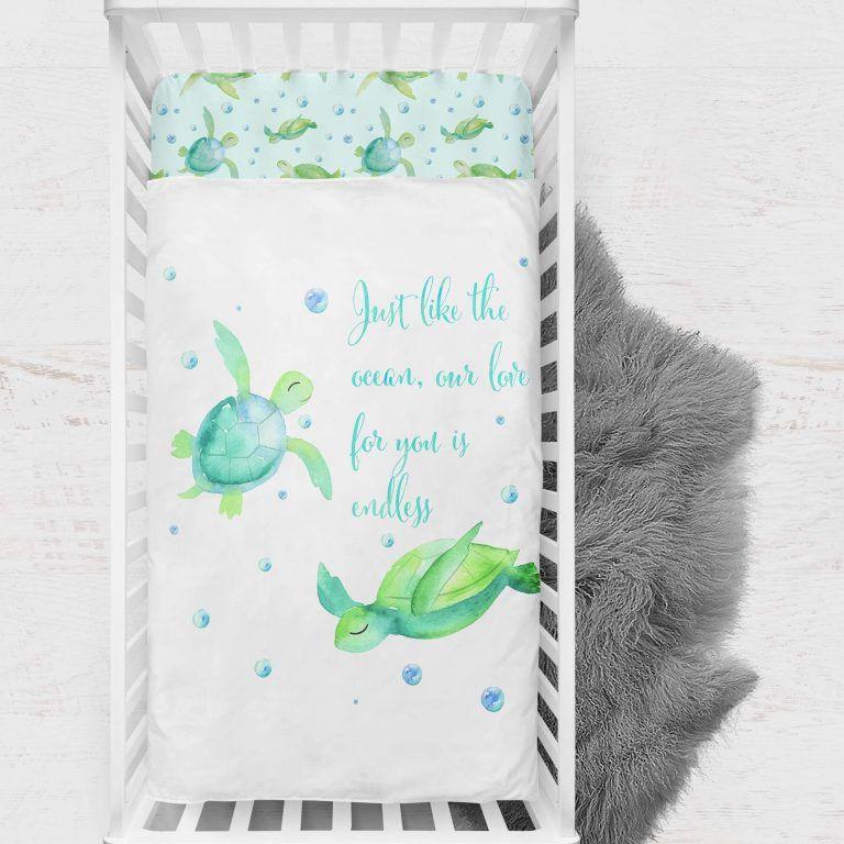 Baby Bedding Crib Cot Quilt Nursery Decor Ocean Turtles Blanket