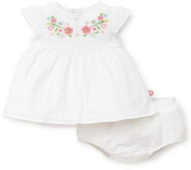 d96f8a93f8ee Little Me Size 2-Piece Embroidered Gauze Dress and Diaper Cover Set in White