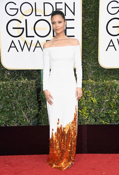 Actress Thandie Newton attends the 74th Annual Golden Globe Awards.