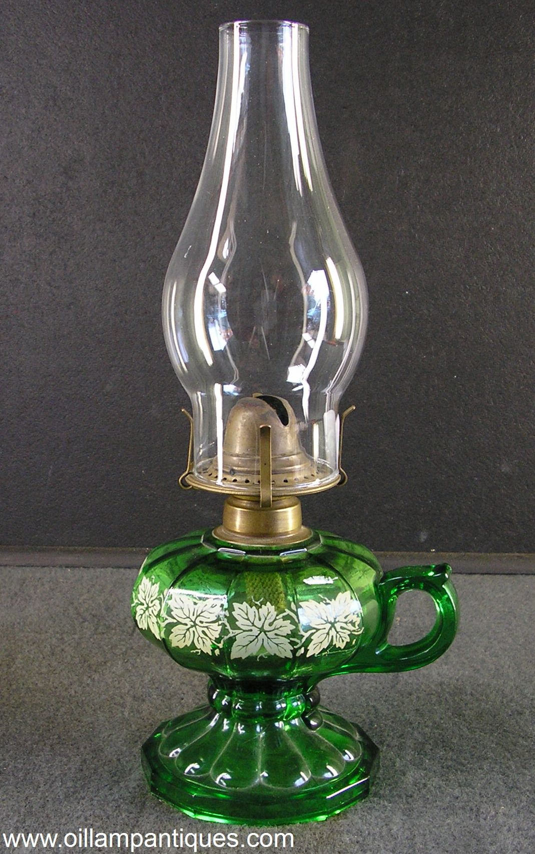Emerald Green Glass Pedestal Finger Oil Lamp With Stencil Decorated Font Circa 1920 Lamp Oil Lamps Hurricane Oil Lamps