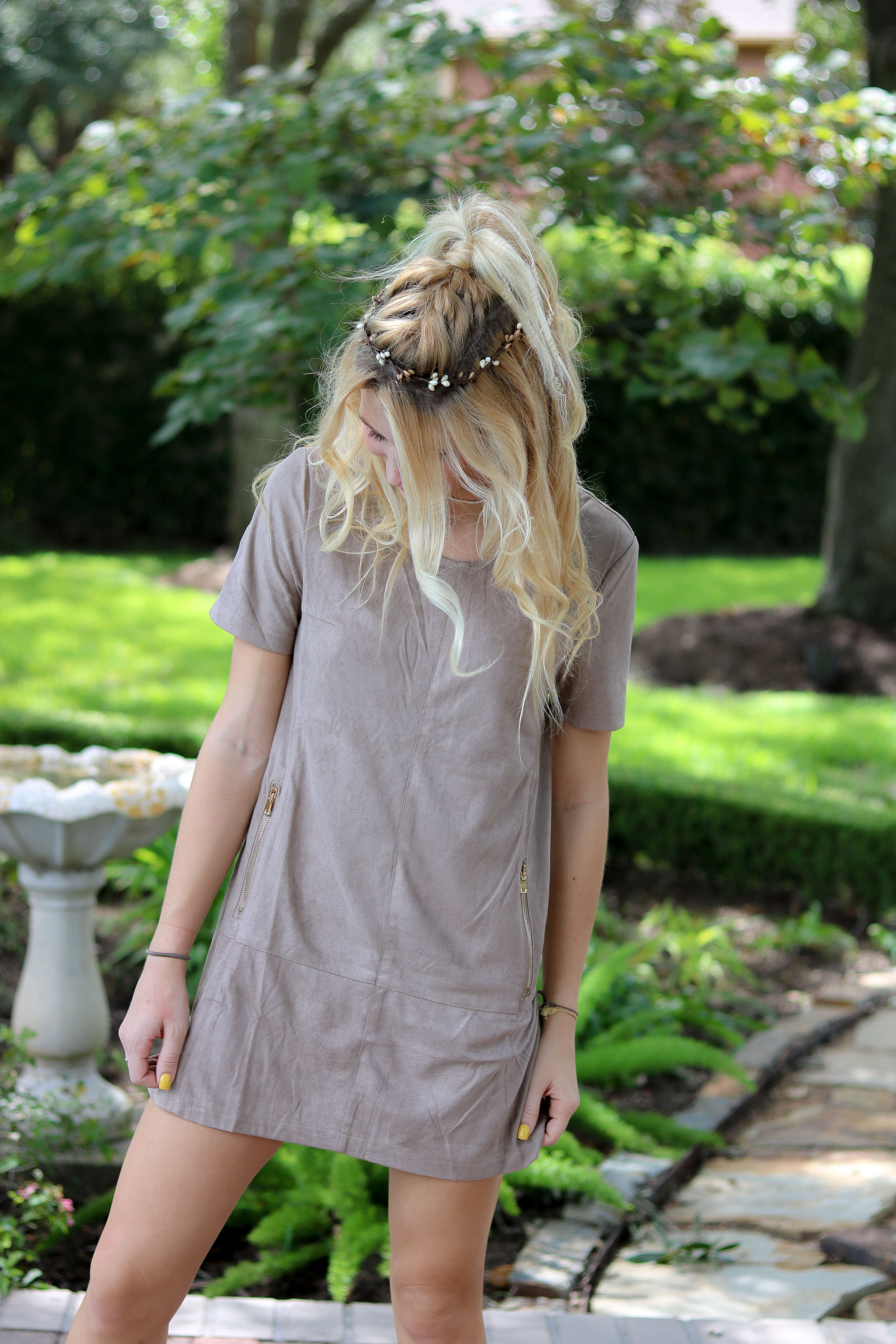 Sassafrasbg Fall Outfit Suede Dress Outfit Flower Crown Outfit