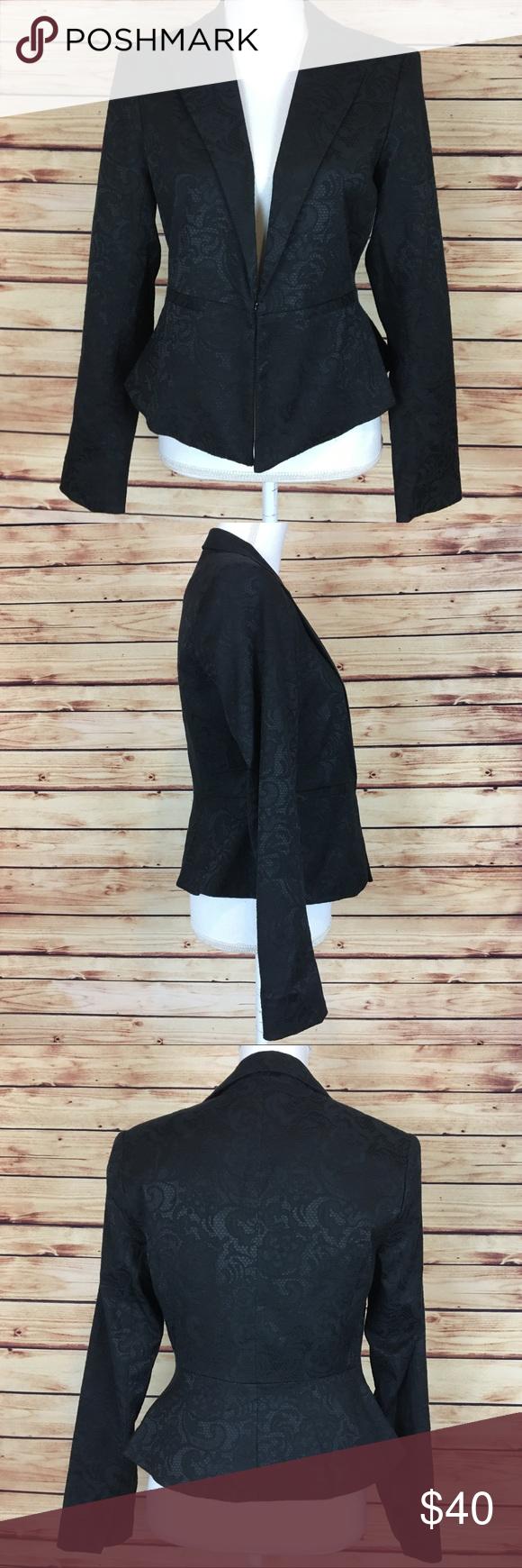 NWOT Apt. 9 Black Lace Print Peplum Blazer Size 4 | Peplum blazer ...