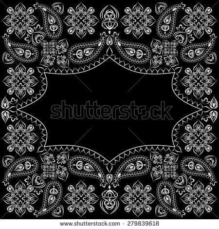 Bandana Black Paisley Vector Pattern Vector Pattern Bandana