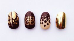 Illustrated Nail team was out offering chocolate inspired manicures with Baileys at press houses in London on Thursday for the launch of the new Baileys Mini Delights…delicious Baileys milk chocolate truffles…YUM! We used gold leaf and gold foil and was inspired by the chocolate truffles and Baileys logo for the nail art men...