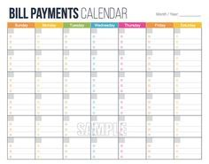 graphic relating to Budget Calendar Printable identified as Invoice Bills Calendar - Specific Finance Setting up