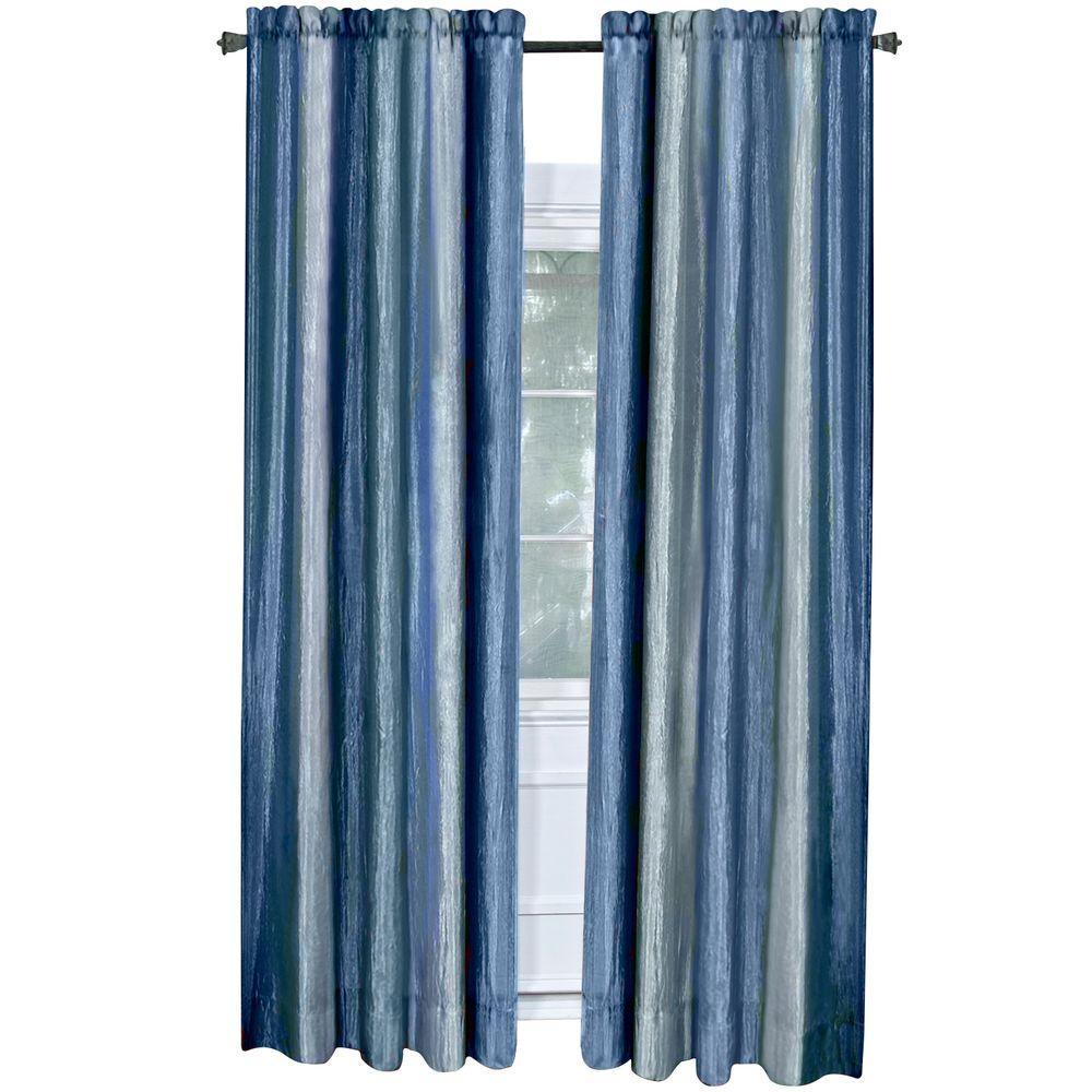 Achim Semi Opaque Ombre 50 In W X 84 In L Curtain Panel In Blue