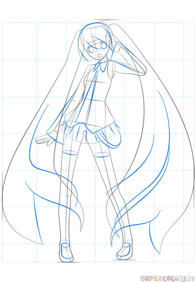 How To Draw Hatsune Miku Step By Step Drawing Tutorials Drawing Tutorial Hatsune Miku Anime Drawings Tutorials Body