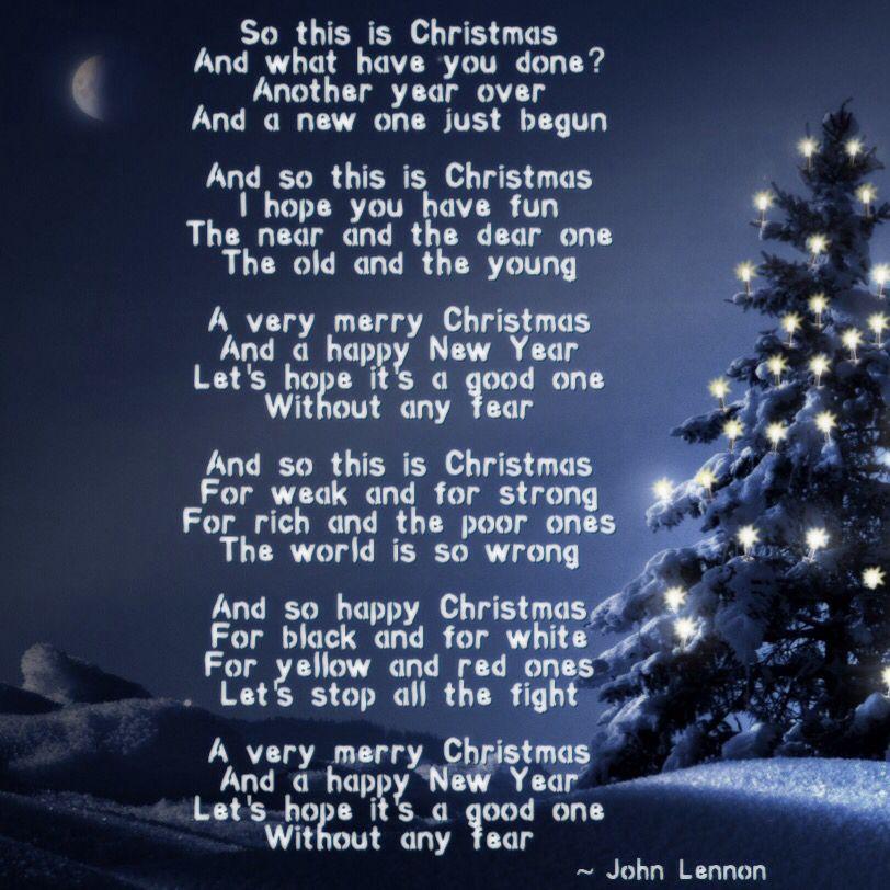 So This Is Christmas John Lennon Christmas Lyrics John Lennon Lyrics Beatles Lyrics