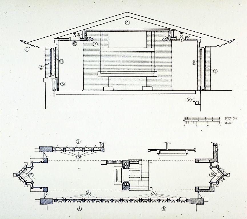 Robie house plan with dimensions arts unsonian for Frank lloyd wright house plans