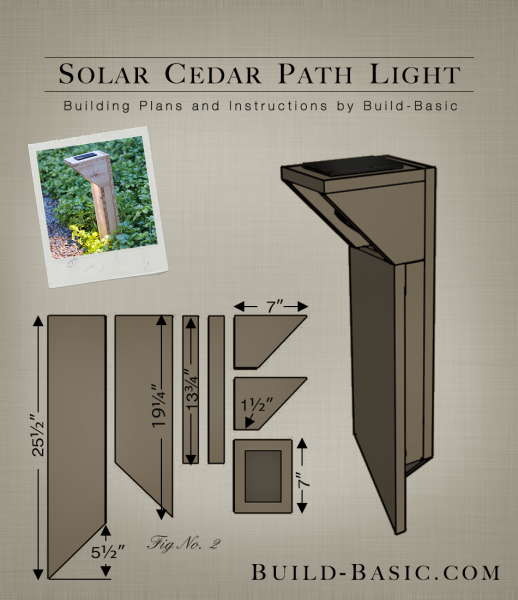 Build a solar cedar path light building plans by buildbasic www build · light buildingexterior lightingsolar