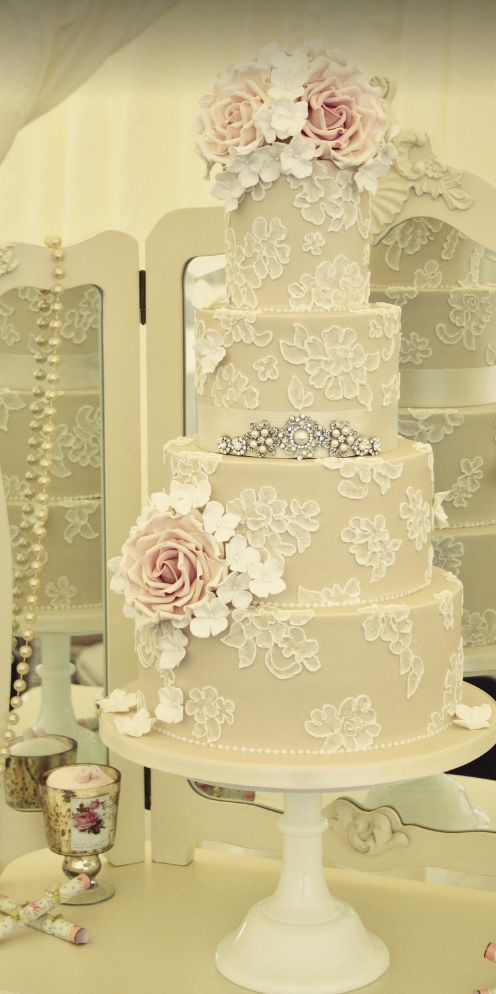 Four Tier White Floral Detailed Wedding Cake | Pinterest | Cake ...