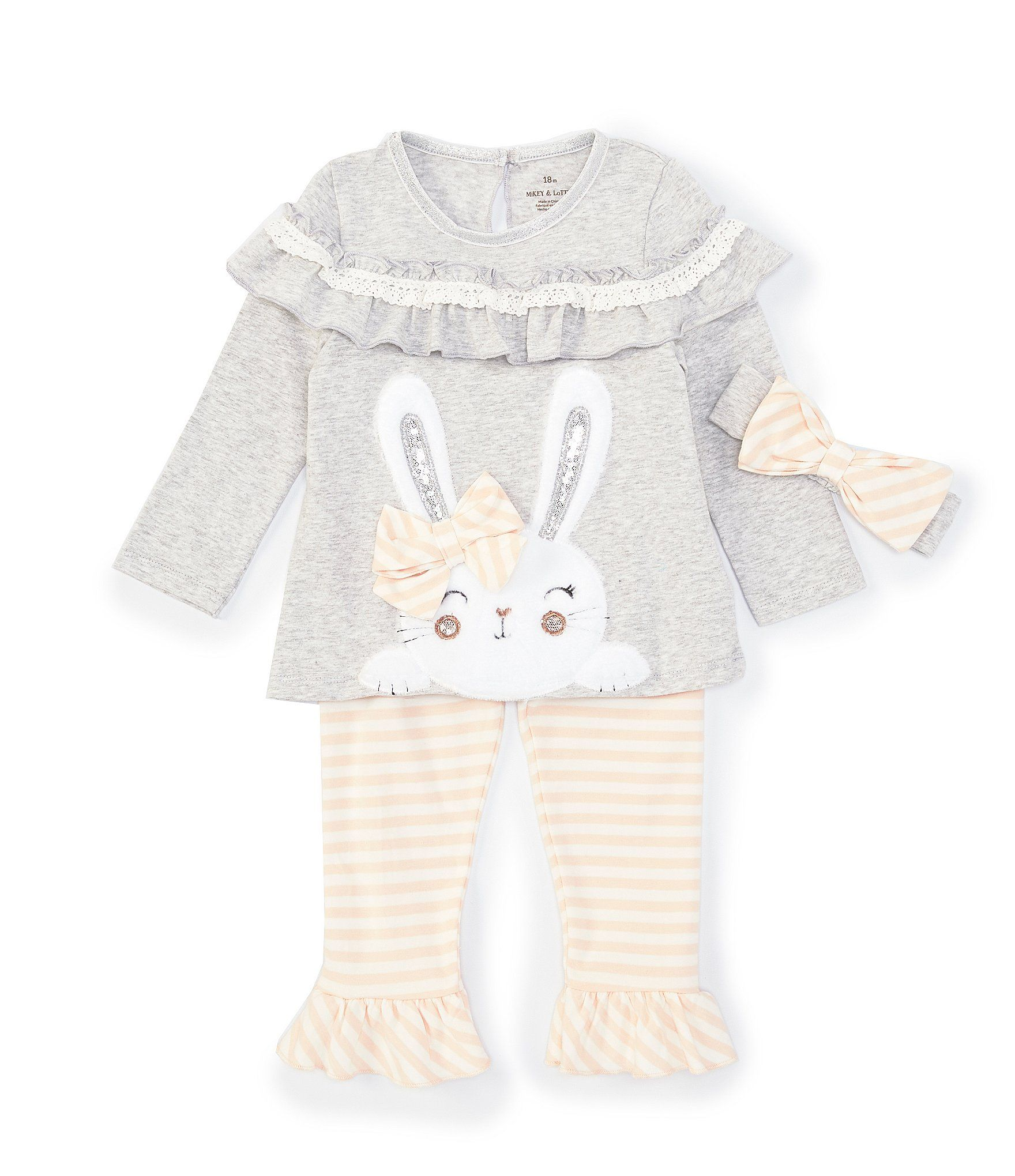 Baby Starters Baby Girls 12-24 Months Ruffle-Detail Bunny Top  Stripe Legging Set - Gray 24 Months #stripedleggings