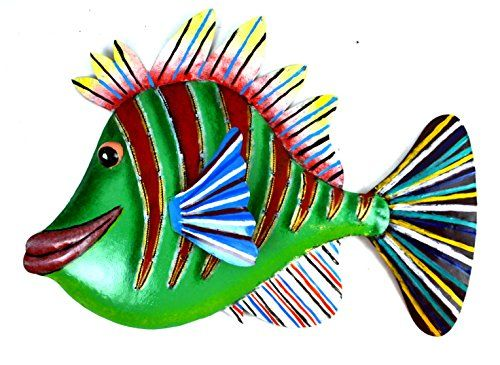 Amazon Com Beautiful Unique Green Red Blue Fish Metal Wall Art Metal Fish Wall Art Fish Wall Art Green Wall Art